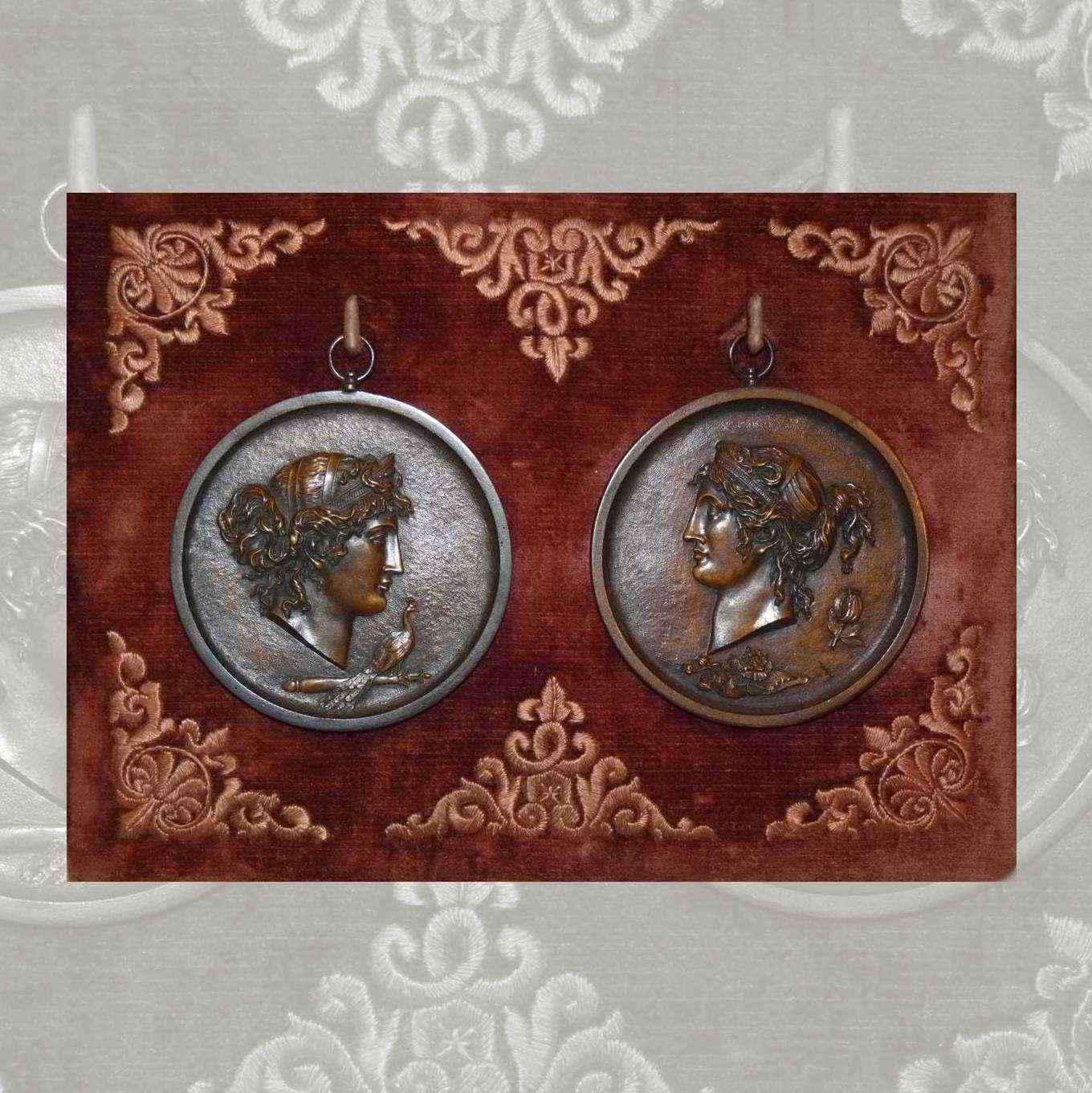 4 antiche medaglie in bronzo