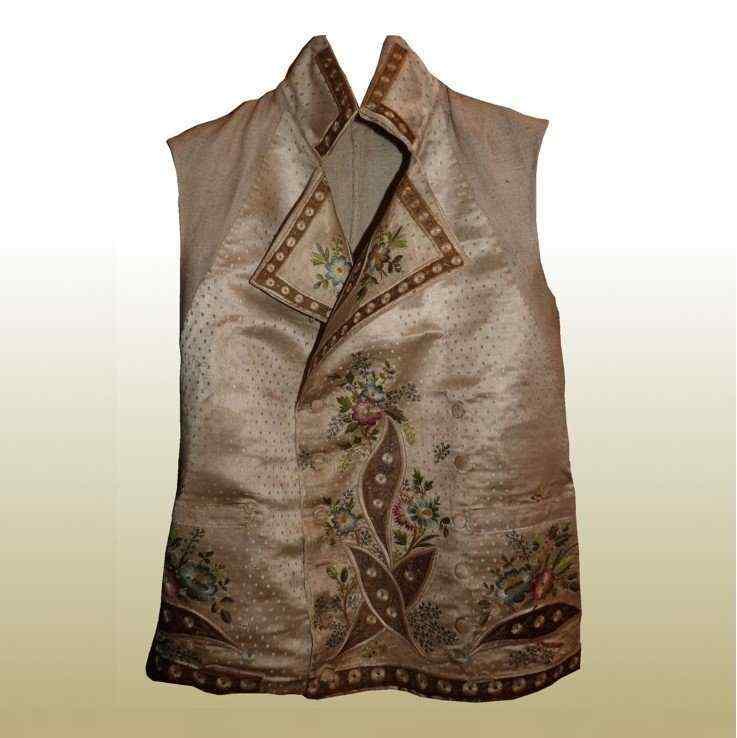 Vest di Uomini, seta ricamata, fine del 18 ° secolo