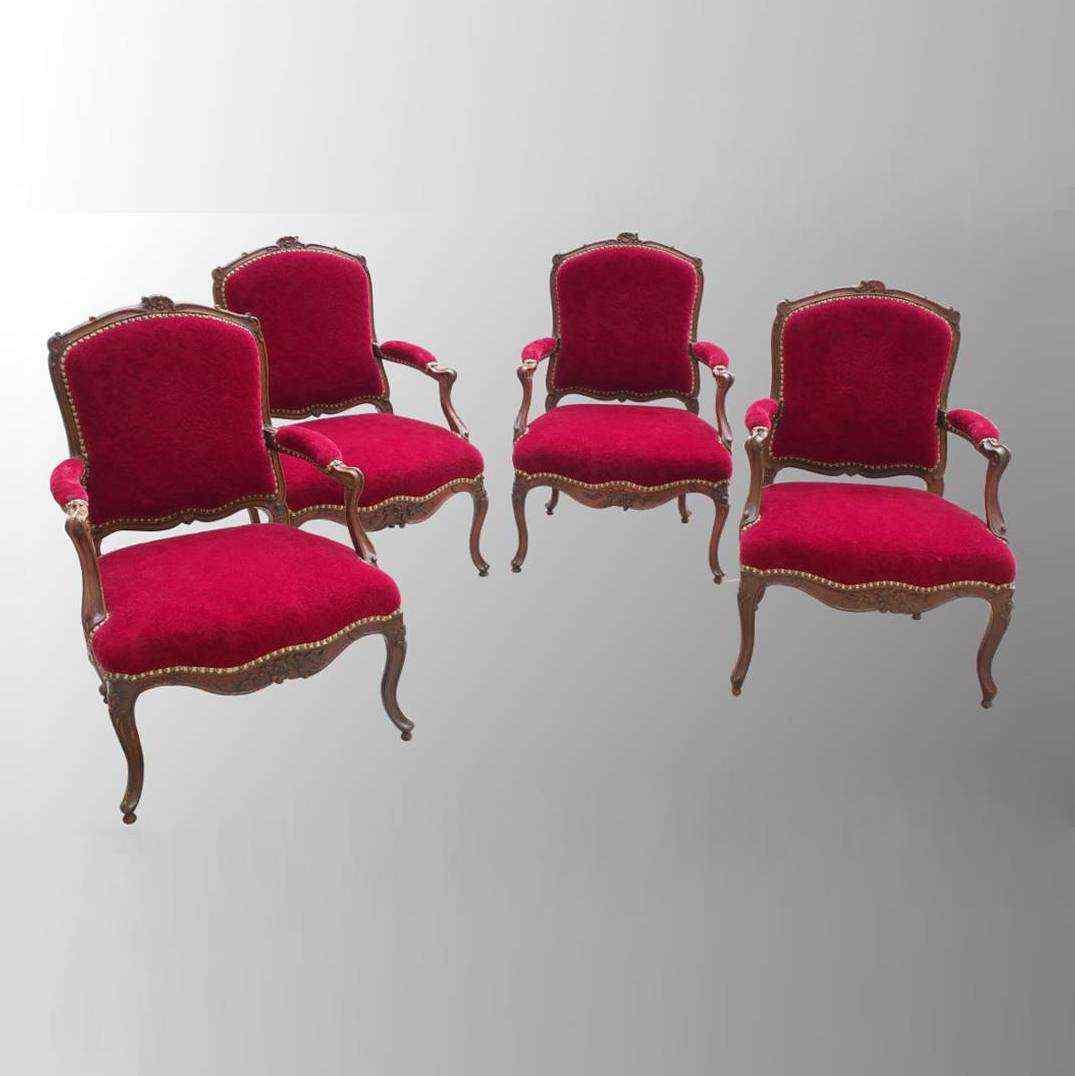 Gruppo di 4 poltrone d'epoca Luigi XV