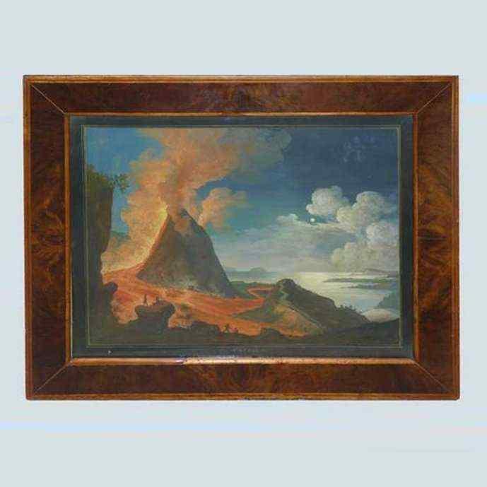 Eruzione del Vesuvio in Moonlight, gouache napoletane 1833
