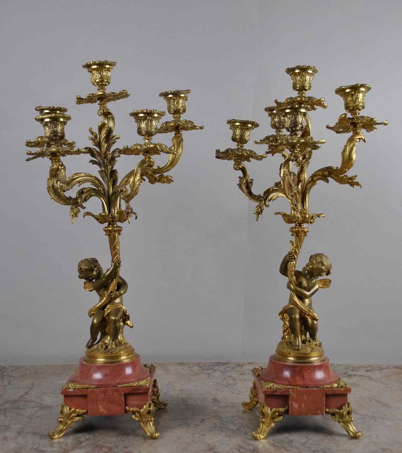 2 Candélabres Bébés En Bronze - XIXème siècle