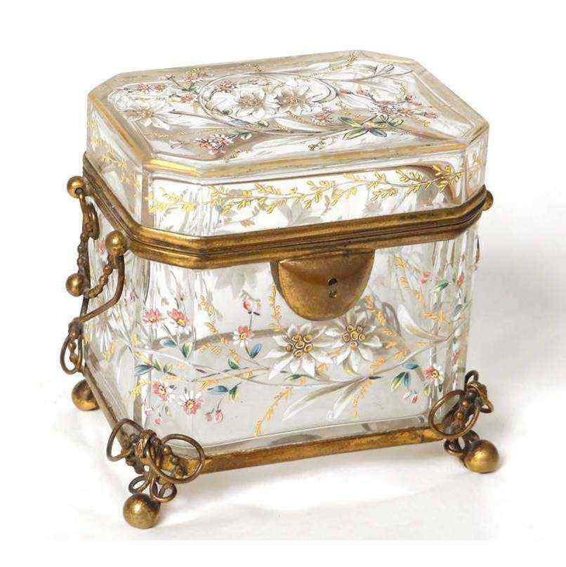 Box smalto di vetro Boemia di cristallo Moser Edelweiss 19
