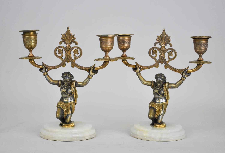 Paire De Candélabres Aux Nubiens, XIXème Siècle