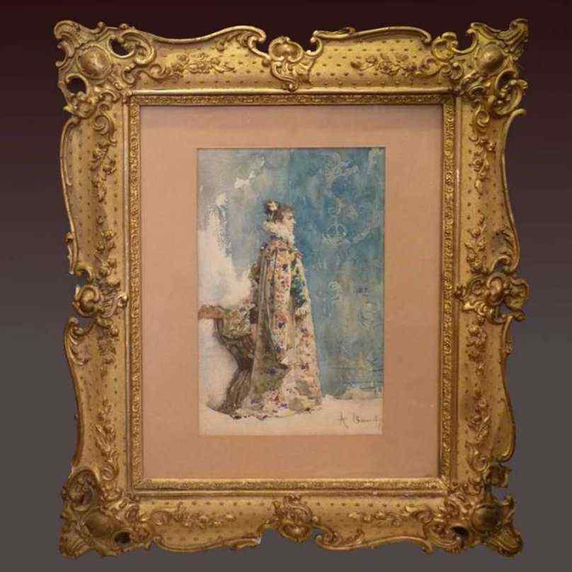 Ritratto di Sarah Bernhardt di Attilio Simonetti, acquarello