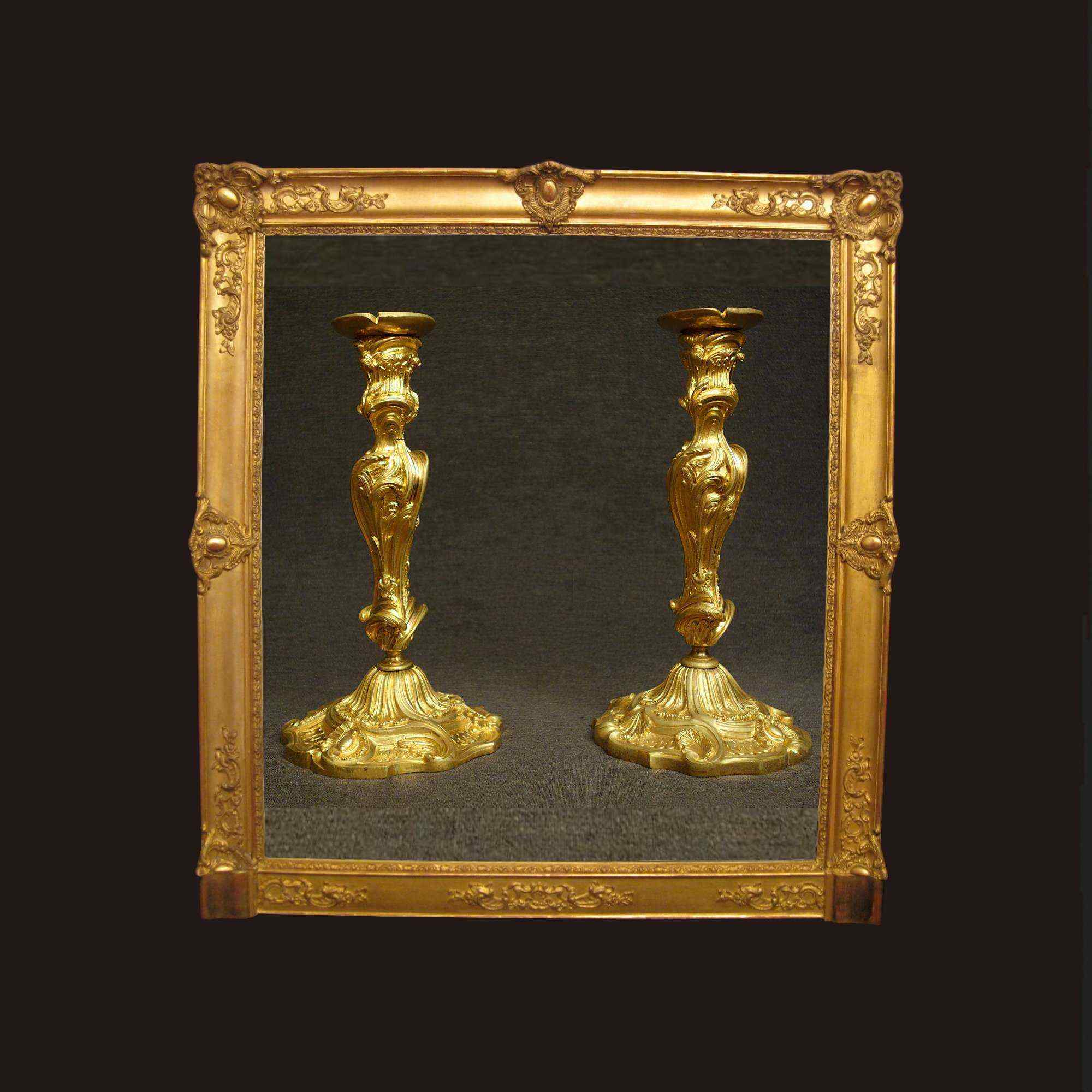 Rare Pair of Bronze Torches XIXth Century, Picard