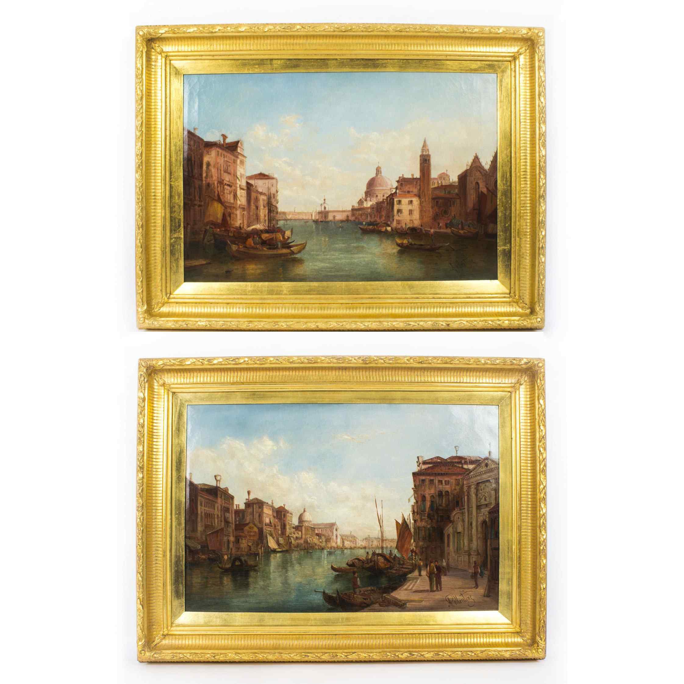 Coppia antica Dipinti ad olio Venezia Alfred Pollentine XIX