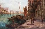 Coppia antica Dipinti ad olio Venezia Alfred Pollentine XIX -16