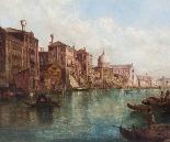 Coppia antica Dipinti ad olio Venezia Alfred Pollentine XIX -15