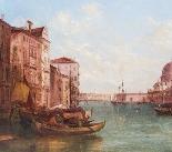 Coppia antica Dipinti ad olio Venezia Alfred Pollentine XIX -4