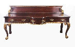 Coppia di tavolini dorati antichi in mogano del 1800-3