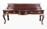 Coppia di tavolini dorati antichi in mogano del 1800-2