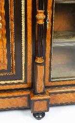Antique Burr Walnut vittoriano Credenza Sevres Plaques 19th -14