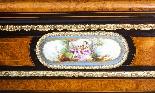 Antique Burr Walnut vittoriano Credenza Sevres Plaques 19th -6