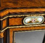 Antique Burr Walnut vittoriano Credenza Sevres Plaques 19th -7