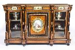 Antique Burr Walnut vittoriano Credenza Sevres Plaques 19th -1