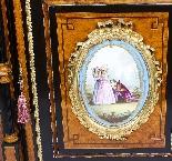 Antique Burr Walnut vittoriano Credenza Sevres Plaques 19th -10