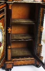 Antique Burr Walnut vittoriano Credenza Sevres Plaques 19th -16