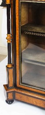 Antique Burr Walnut vittoriano Credenza Sevres Plaques 19th -13