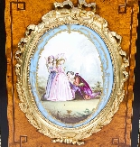 Antique Burr Walnut vittoriano Credenza Sevres Plaques 19th -9