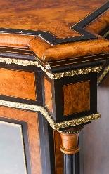 Antique Burr Walnut vittoriano Credenza Sevres Plaques 19th -5