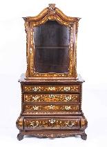 Antique Dutch Marquetry Walnut Cabinet on Chest c.1780-2