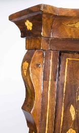 Antique Dutch Marquetry Walnut Cabinet on Chest c.1780-6