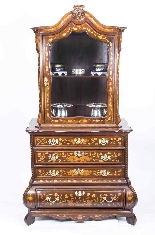 Antique Dutch Marquetry Walnut Cabinet on Chest c.1780-1