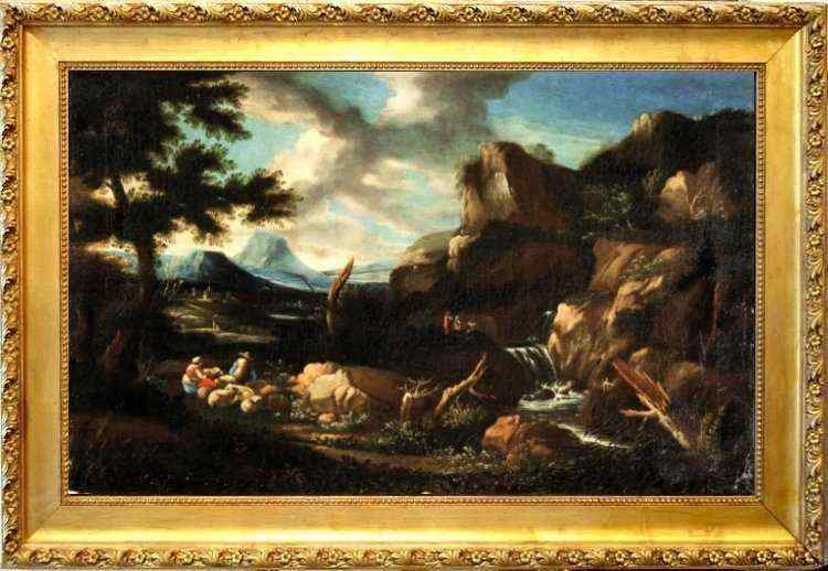 Bucolic landscape with shepherds, oil on canvas