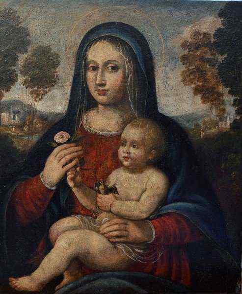 Madonna con Bambino, scuola bolognese, olio su tavola