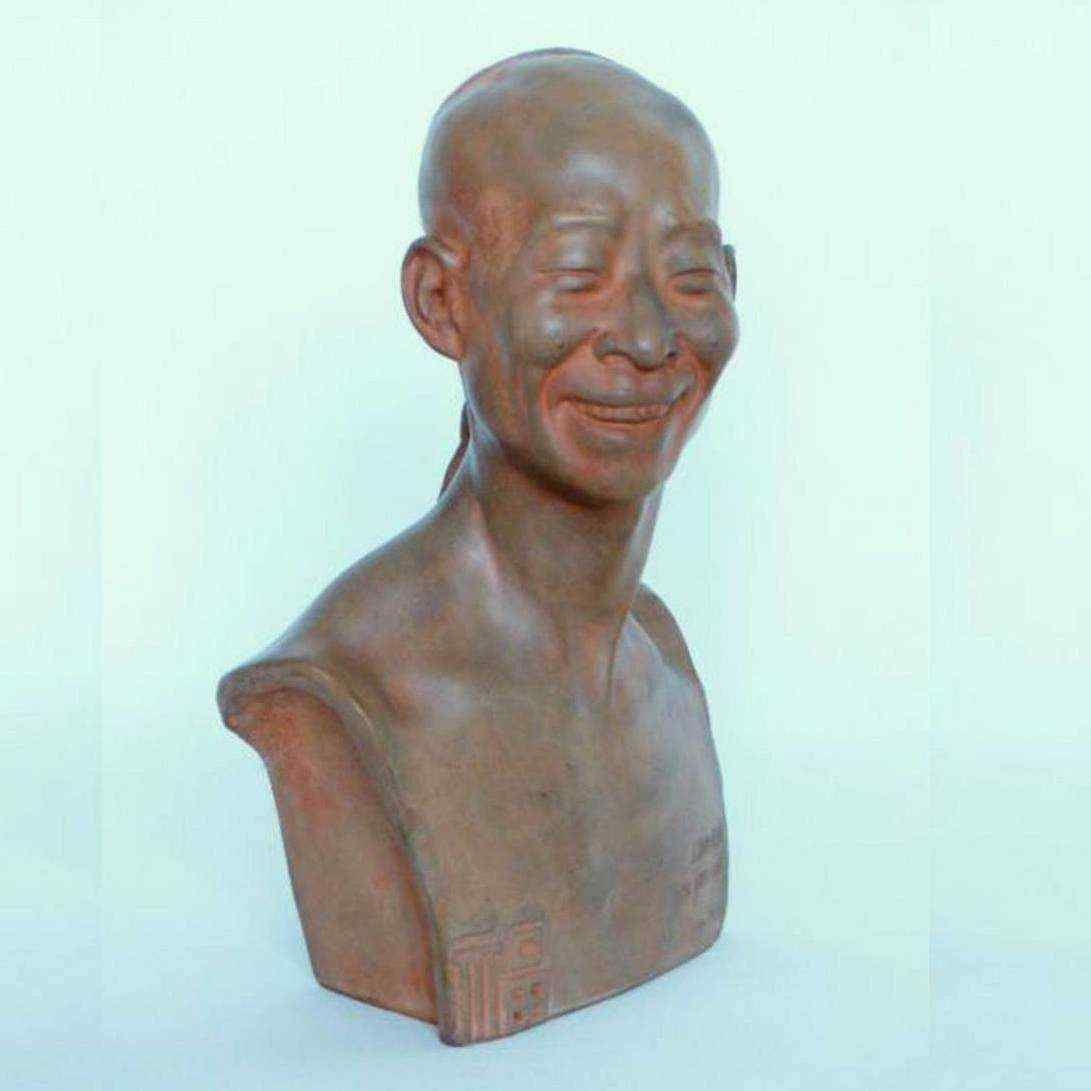 Busto in terracotta di Chin Fan, Jan Mich, 1910 circa