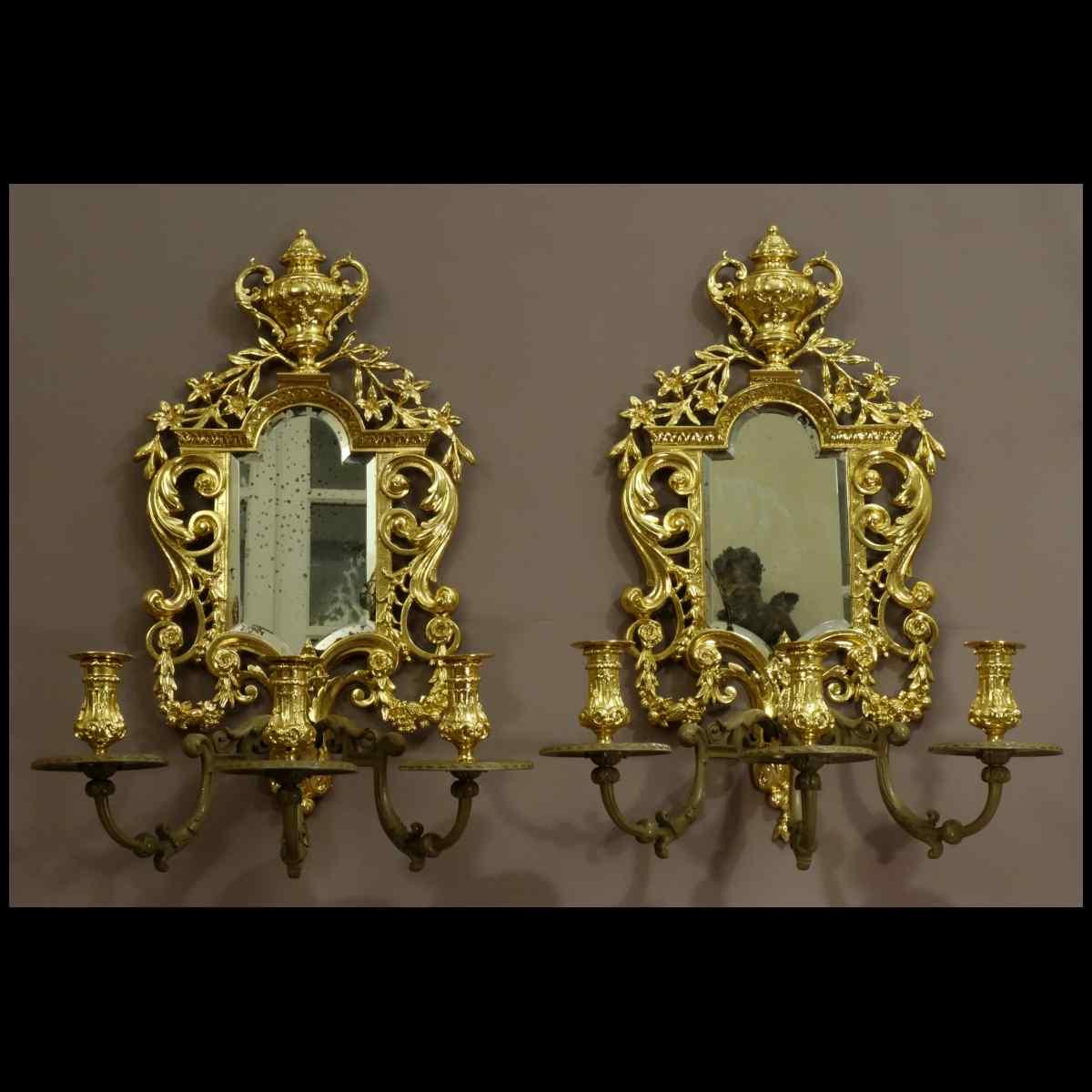 Paire d'Importantes Appliques Style Louis XIV XIXème