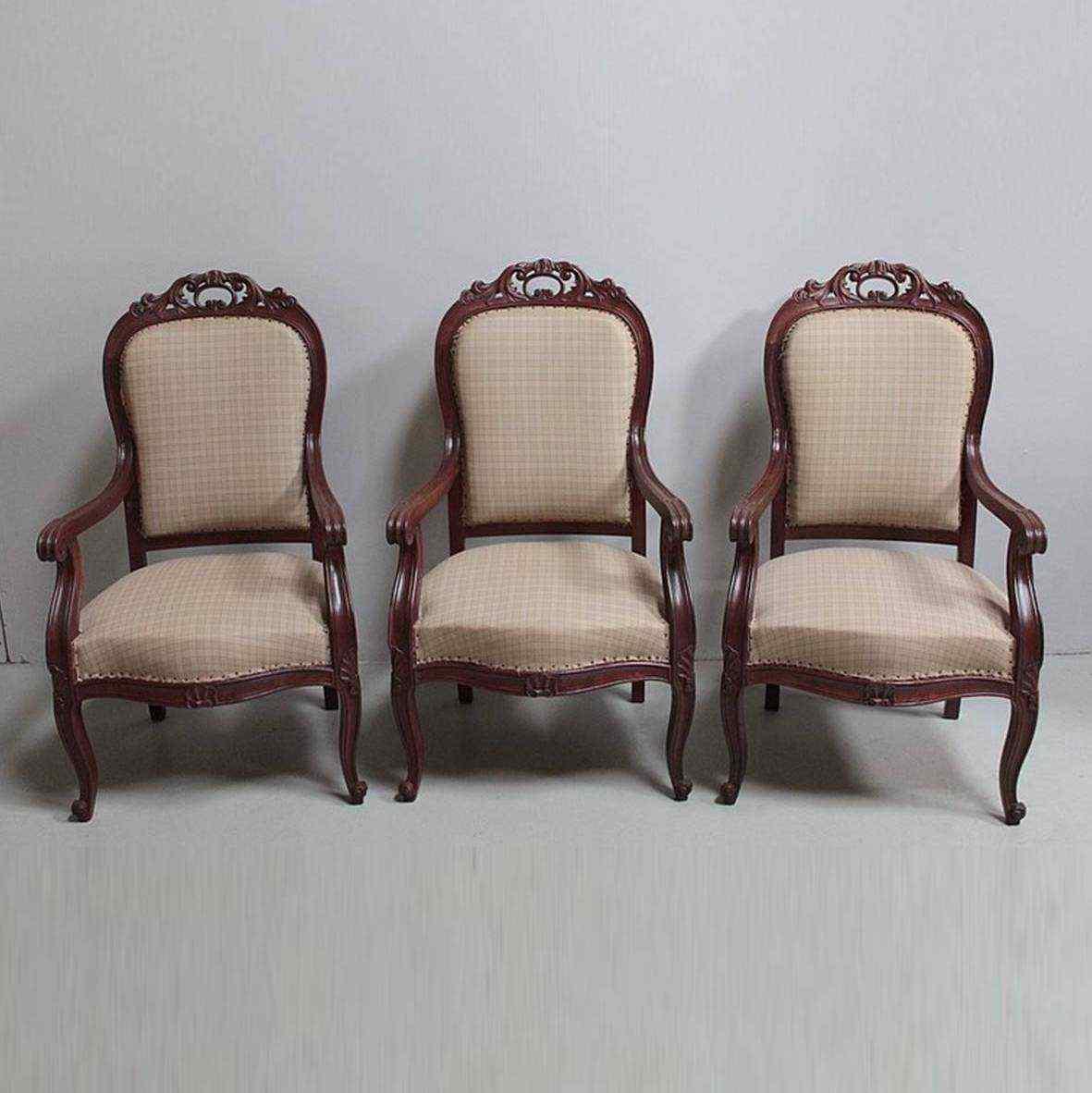Gruppo di tre poltrone Napoleone III, XIX secolo