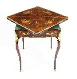 Tavolo da gioco antico vittoriano in busta intarsiata Ormolu-5