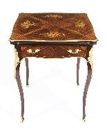 Tavolo da gioco antico vittoriano in busta intarsiata Ormolu-0