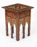 Antico set di 3 tavoli occasionali intarsiati con madreperla-2