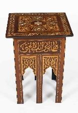 Antico set di 3 tavoli occasionali intarsiati con madreperla-3