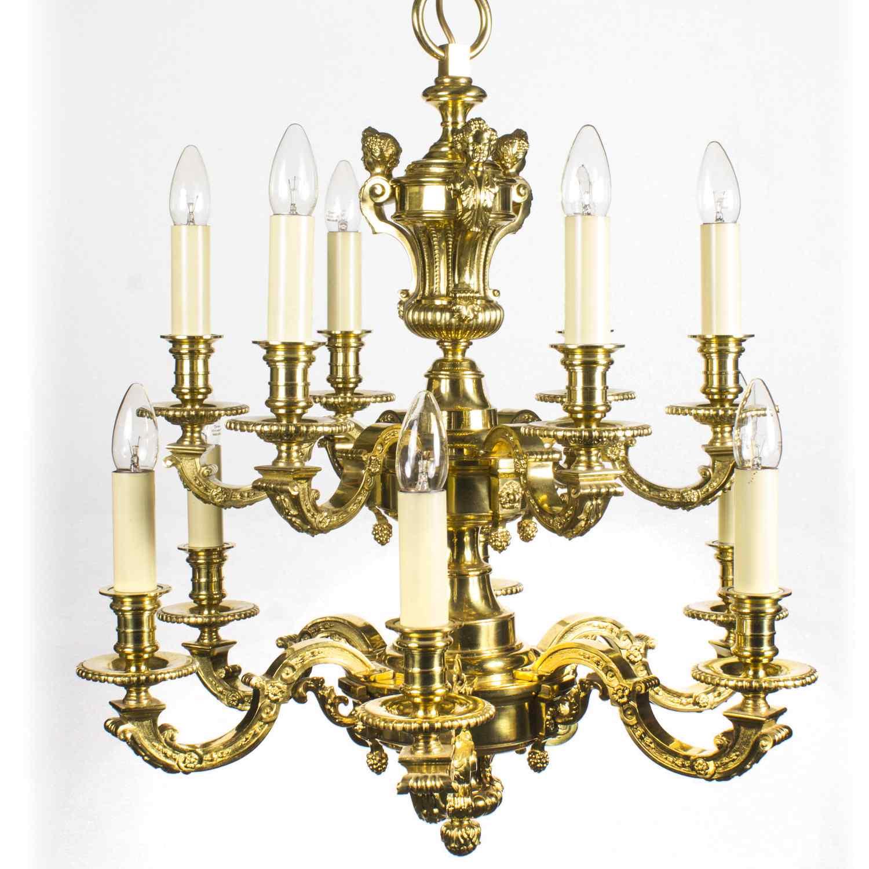 Lustre Antique Style Louis XIV en bronze doré C1900