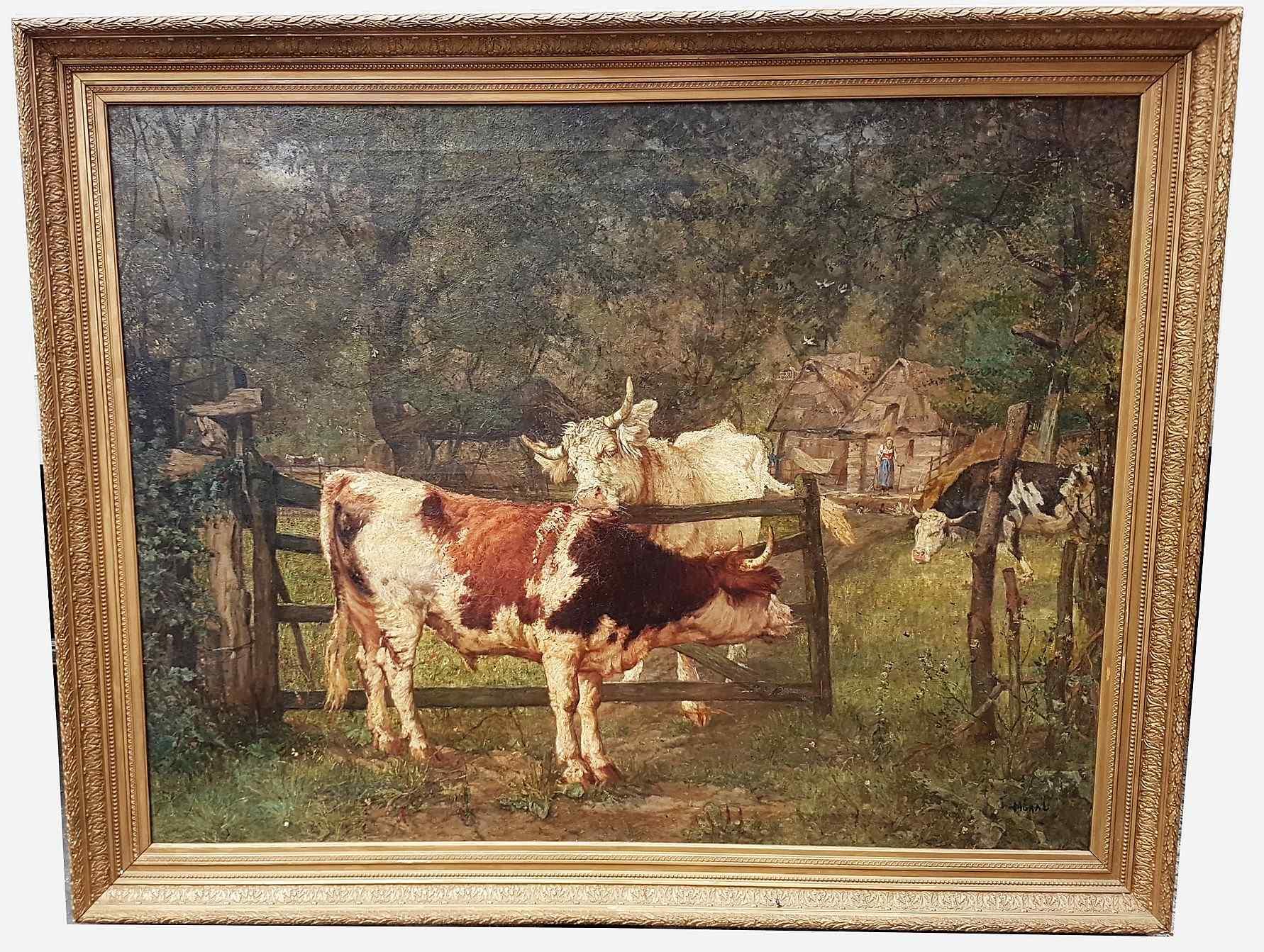 Grande dipinto di mucche nel prato, olio su tela firmato