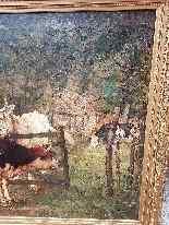 Grande dipinto di mucche nel prato, olio su tela firmato-0