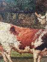 Grande dipinto di mucche nel prato, olio su tela firmato-5