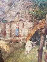 Grande dipinto di mucche nel prato, olio su tela firmato-8