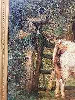 Grande dipinto di mucche nel prato, olio su tela firmato-9