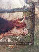 Grande dipinto di mucche nel prato, olio su tela firmato-11