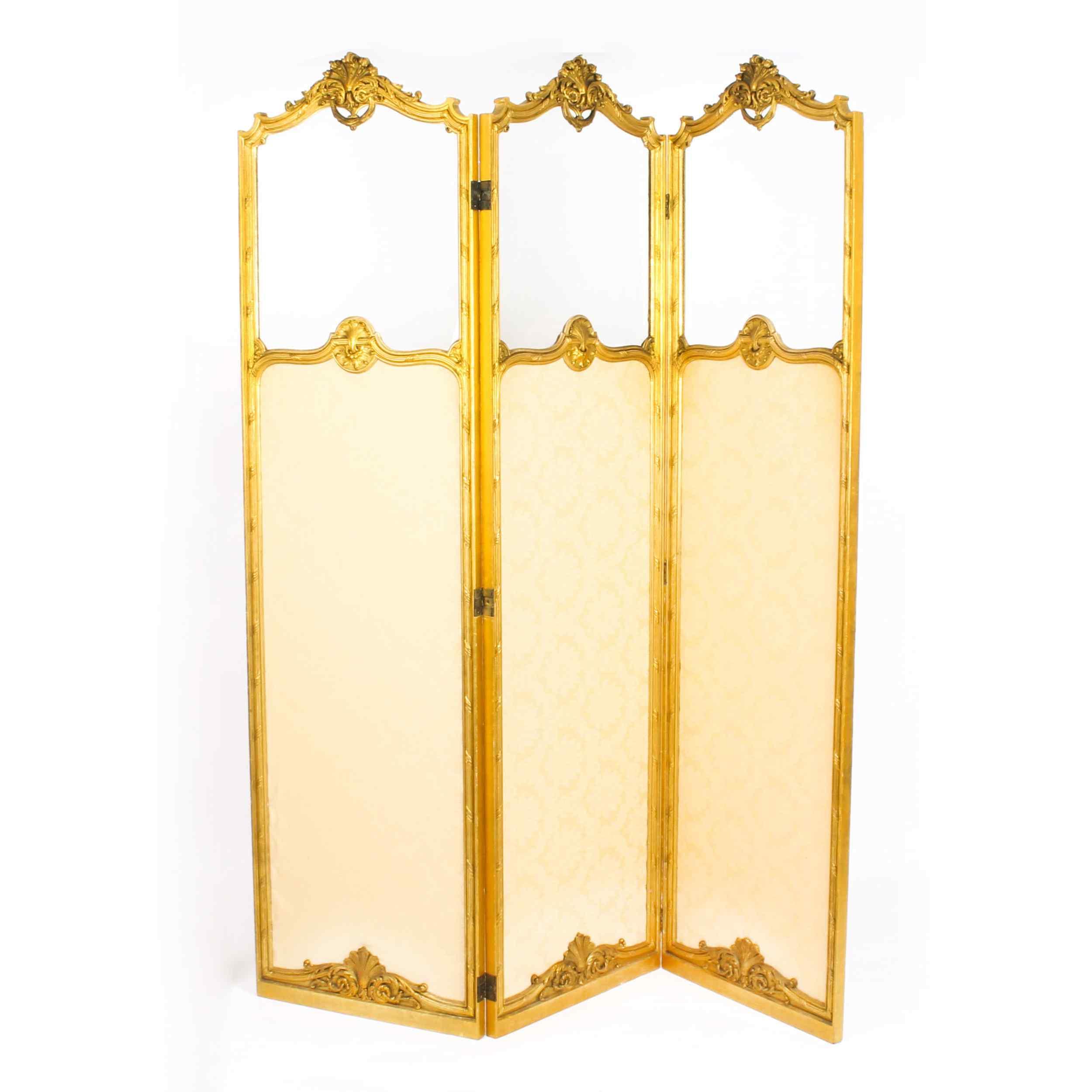 Paravento a tre ante antico in legno dorato francese XIX sec