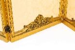 Paravento a tre ante antico in legno dorato francese XIX sec-4