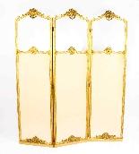 Paravento a tre ante antico in legno dorato francese XIX sec-1