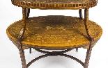 Tavolo antico in mogano inglese e etagere in legno satinato-5