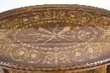 Tavolo antico in mogano inglese e etagere in legno satinato-3
