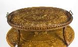 Tavolo antico in mogano inglese e etagere in legno satinato-0