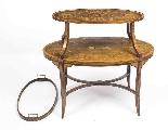 Tavolo antico in mogano inglese e etagere in legno satinato-8